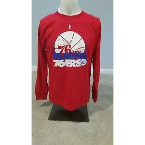 Majestic Youth Red 76ers L/S Polo Shirt Size XL